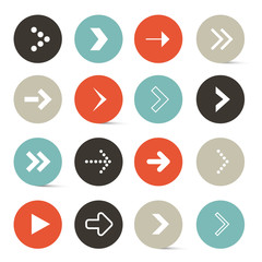 Vector Blue - Red and Black Retro Paper Circle Arrows Set