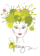 Vector illustration -- spring girl
