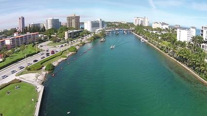 Aerial view of waterways in Boca Raton Florda