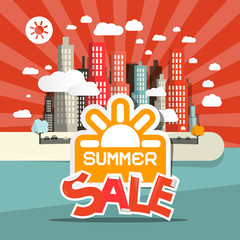 Retro Summer Sale Vector Illustration of Abstract Town - City