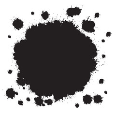 Vector Black Splashes Blots Stains Isolated on White