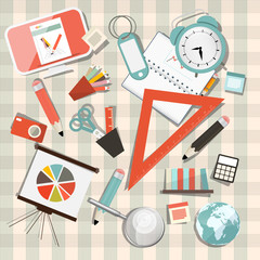 Vector School or Business - Office Objects Set on Tablecloth