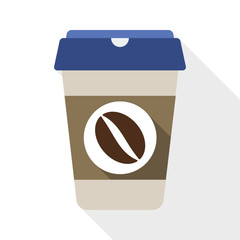 Coffee cup flat icon with long shadow on white background
