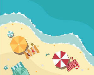 Summer beach in flat design, aerial view, sea side and umbrellas