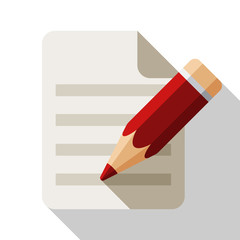 Document and pencil flat icon with long shadow on white backgrou