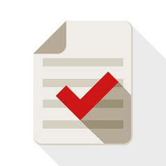 Document and check mark icon with long shadow on white backgroun