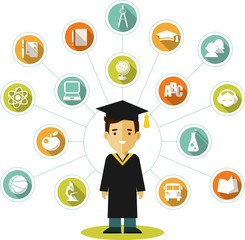 Graduates concept with people and education icons
