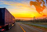 Truck on road and North America map background - travel concept