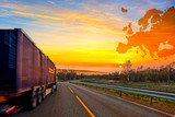 Truck on road on Europe map background - shipping travel concept