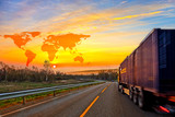 Truck on road and World map background - shipping travel concept - Fine Art prints