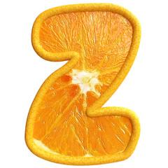 Orange fruit alphabet on white background. Letter z.