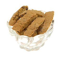 Bowl of cantuccini on a white background