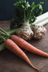 Celery root, carrots and leek