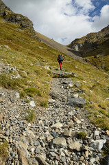 Hiker in the Atlantic Pyrenees, Bearn