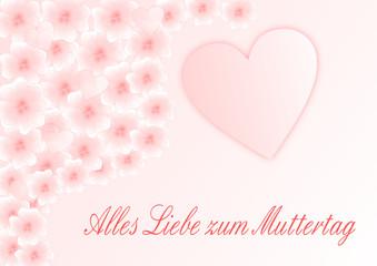 Zartrosa Blüten und Herzen mit Muttertagsgruß auf deutsch