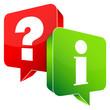Speech Bubbles Question Red & Information Green