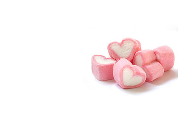 Heart shape marshmallow with on whtie background