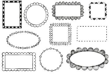 Set of doodle vector frames