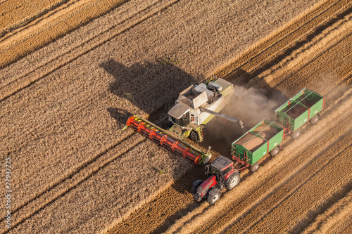 aerial view of combine