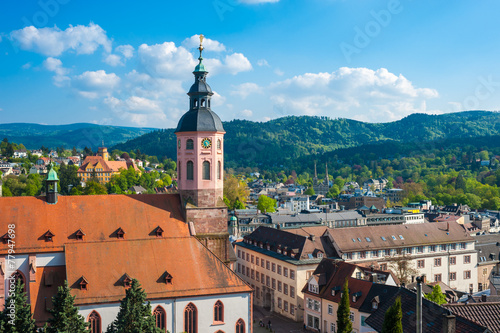 Leinwandbild Motiv Stadtpanorama mit Stiftskirche, Baden-Baden, Schwarzwald, Baden-