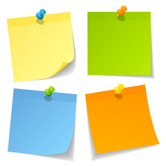 Colored Sticknotes Colored Pins Mix