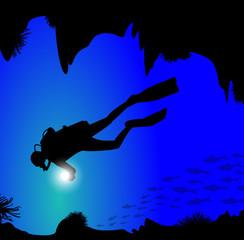 silhouette di palombaro in fondo al mare