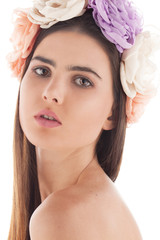 young brunette studio head shot white background