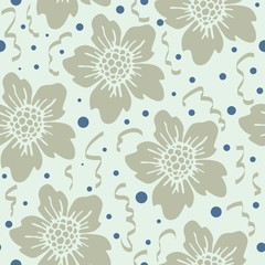 Abstract seamless pattern with hand drawn floral background