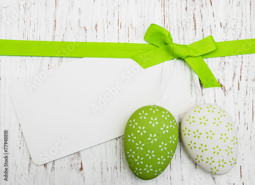 Foto op Plexiglas Egg Easter greeting card with easter eggs