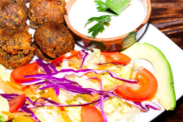 Falafel plate with vegetables, vegetarian food