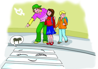 Illustration of cute little school kids
