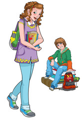 Illustration of beautiful teenage boy and girl