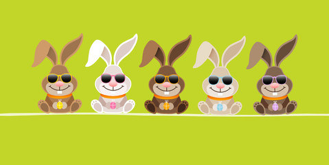 5 Cute Rabbits Sunglasses Green