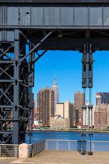 Manhattan New York skyline sunny from East