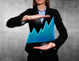 business woman - growth and success graph. Grey background
