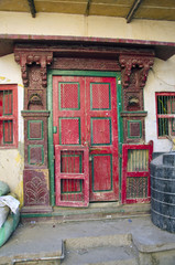 ancient decorative ornate door in Rajasthan, India
