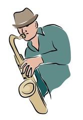 arty sax player