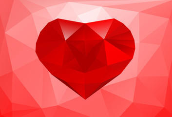 Polygonal background with big red heart