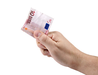 Hand with 10 Euro banknote isolated