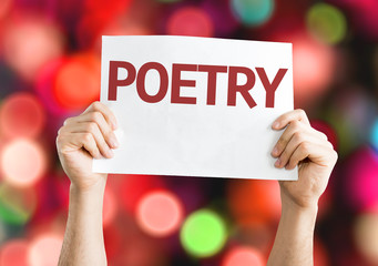 Poetry card with colorful background with defocused lights