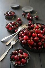 Fresh  cherries in aluminum plates