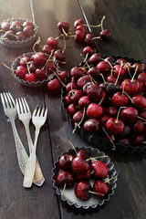 Fresh cherries in aluminum plates