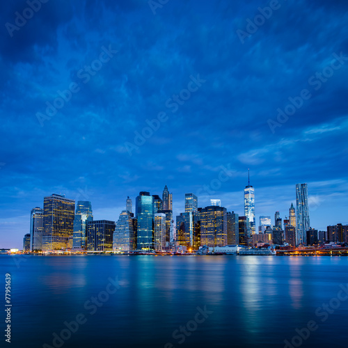Papiers peints New York New York City - Lower Manhattan in blue morning