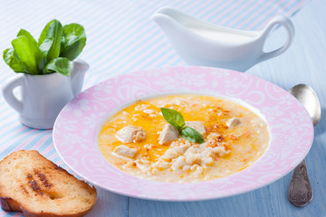 creamy soup with rice and turkey