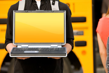 School Bus: Holding Laptop with Blank Screen