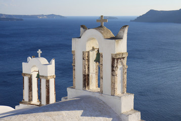 Bell Towers of Famous Church in Santorini