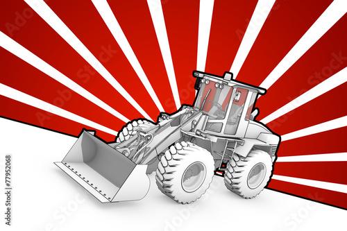 Black and white ink bulldozer pop art - 77952068