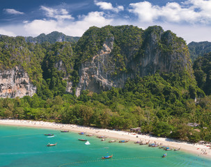 Aerial view of a beautiful beach, Railay in Thailand.