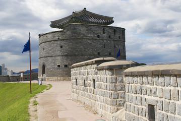 Hwaseong fortress exterior wall and tower in Suwon, Korea.