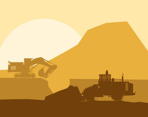 Silhouette of working bulldozer on background